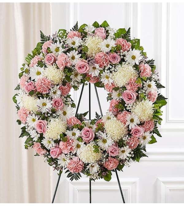 Wreath-Pink and White