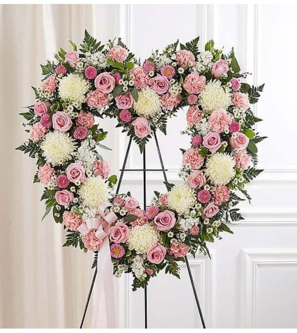 Open Heart Wreath-Pink & White
