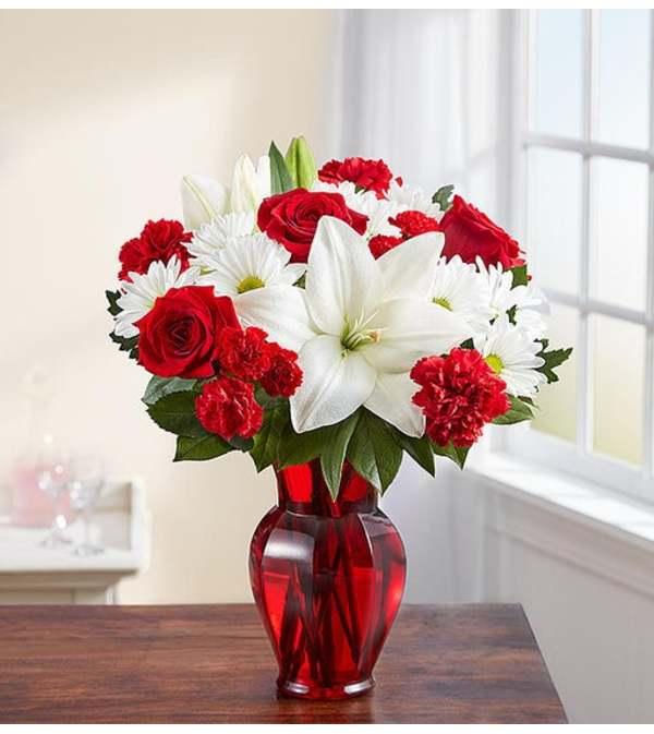 Vase Arrangement-Red & White