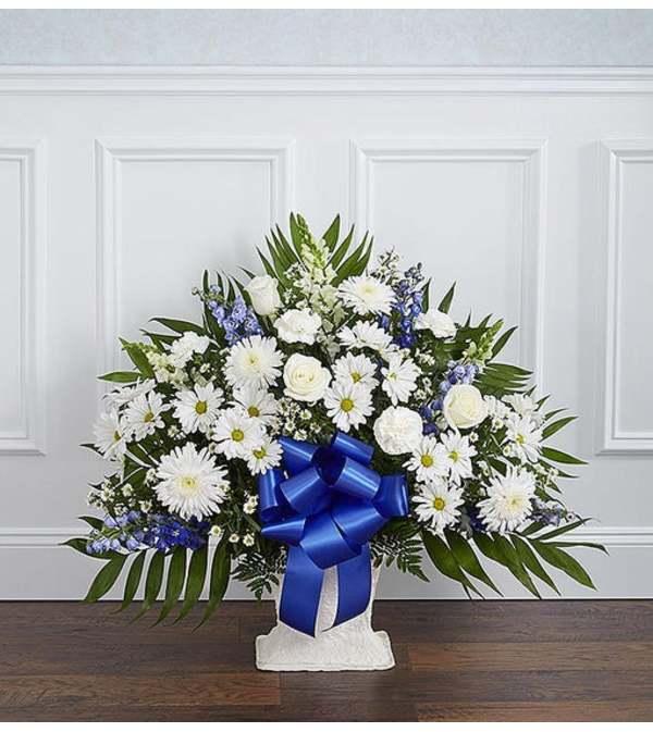 Floor Basket-Blue & White