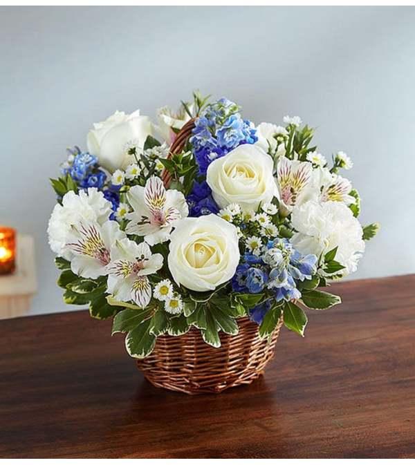 Basket Arrangement-Blue & White