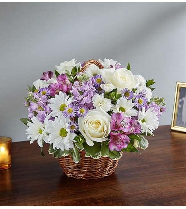 Basket Arrangement-Lavender & White