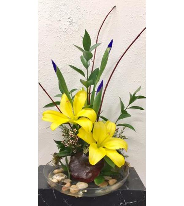 Lilies and Iris Ikebana