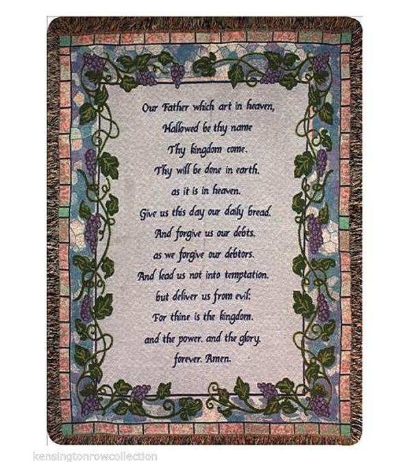 Grapevine Lord's Prayer Tapestry Throw