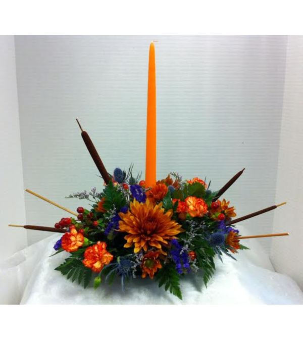 Fall Single Candle Centerpiece