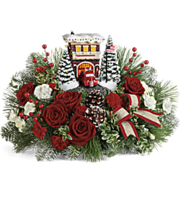 Thomas Kinkade's Festive Fire Station Bouquet by Teleflora