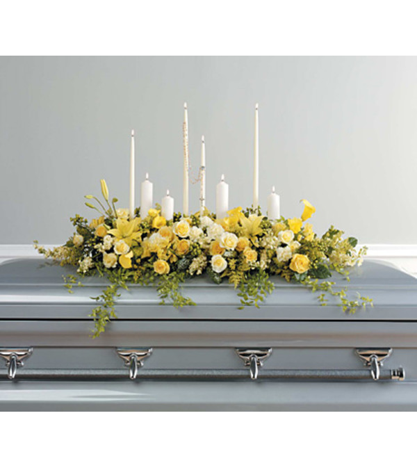 Yellow Casket Spray with Rosary and Candles