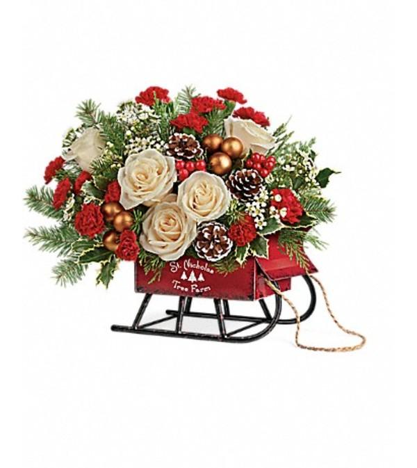 Joyful Saint Nicholas Tree Farm Sleigh Bouquet