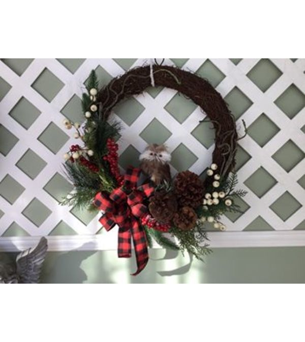 Wood Owl Wreath