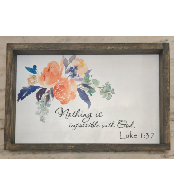 Nothing is impossible with God, Framed Floral Wall Art