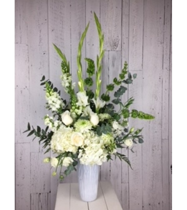White Flower Bouquet With White Roses