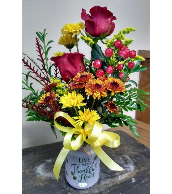 Mason Jar Keepsake with lights & flowers