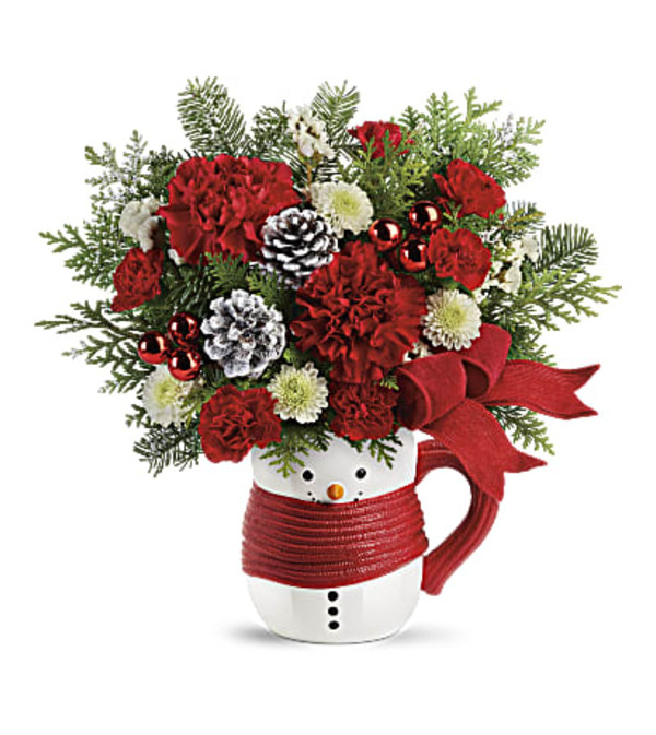 Teleflora Send a Hug Snowman Mug Bouquet