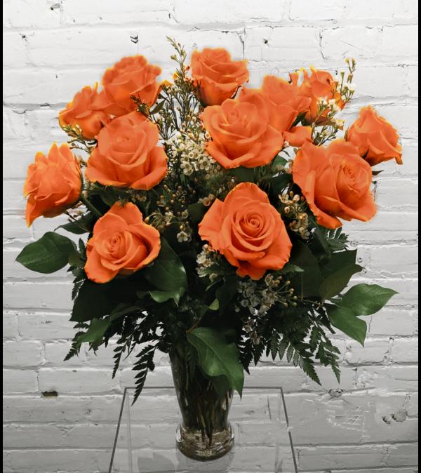 1 Dozen Roses (Peach/Orange)