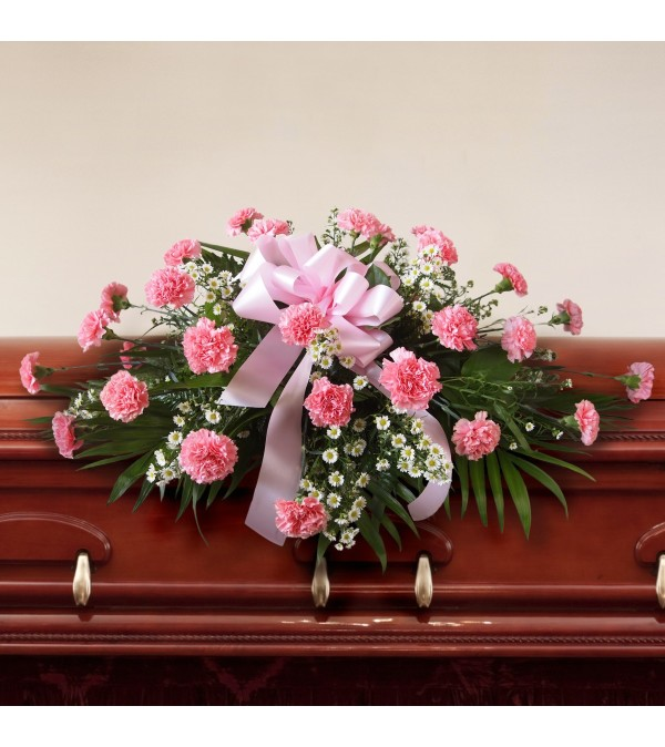 Casket Spray-Carnations-Pink