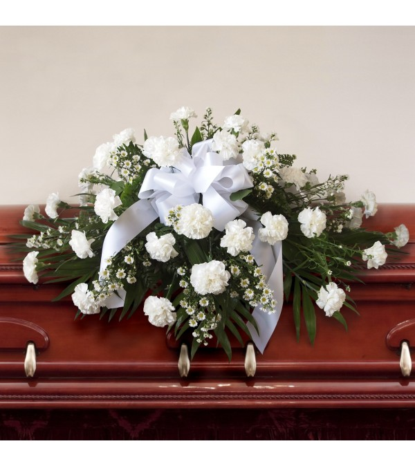 Casket Spray-White Carnations