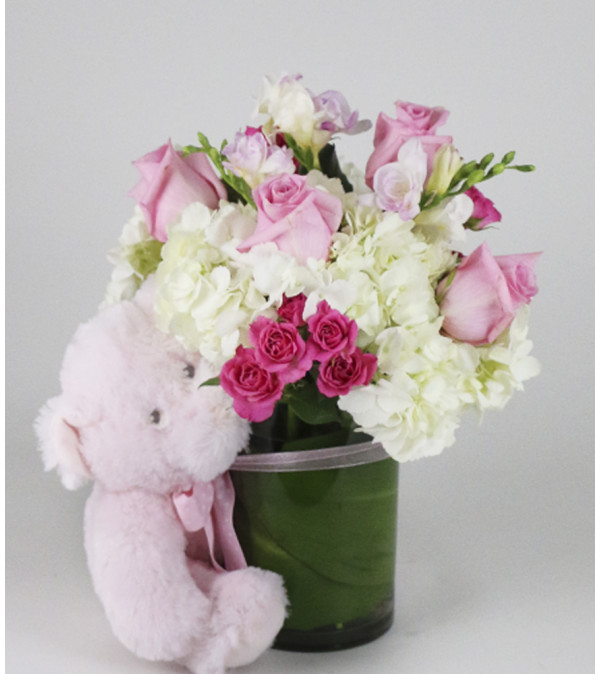 Little Pink Bear Arrangement