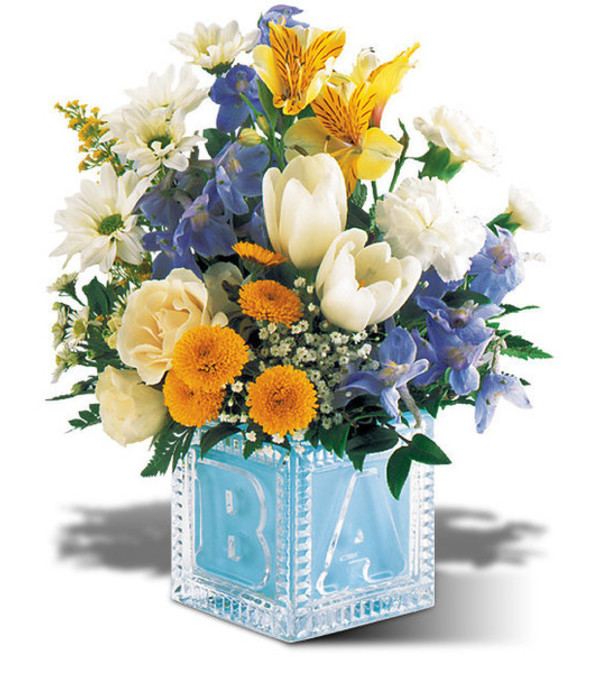 Baby Boy Block Arrangement Wilmington De Florist