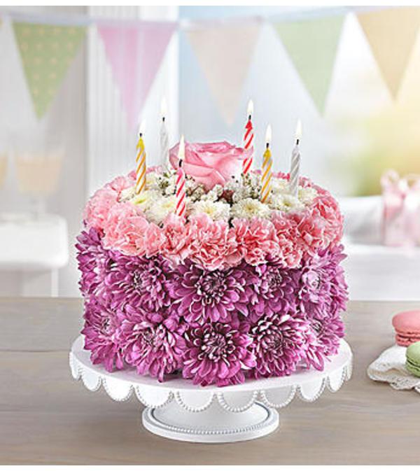 Birthday Wishes Flower Cake™ Pastel