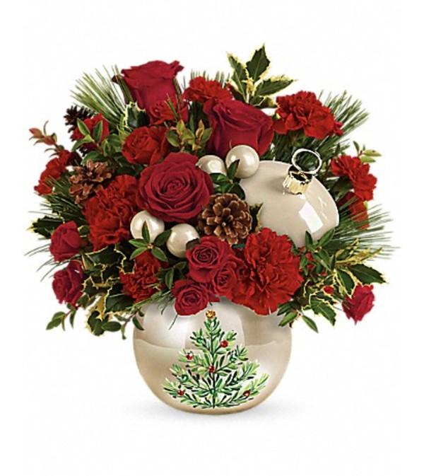 Teleflora Christmas 2019.Teleflora S Classic Pearl Ornament Bouquet Oswego Ny Florist