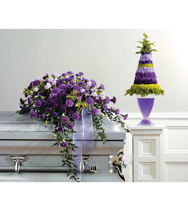 Purple Monochromatic Casket Spray
