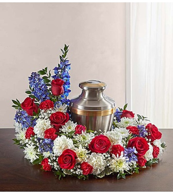 Cremation Wreath - Red, White & Blue