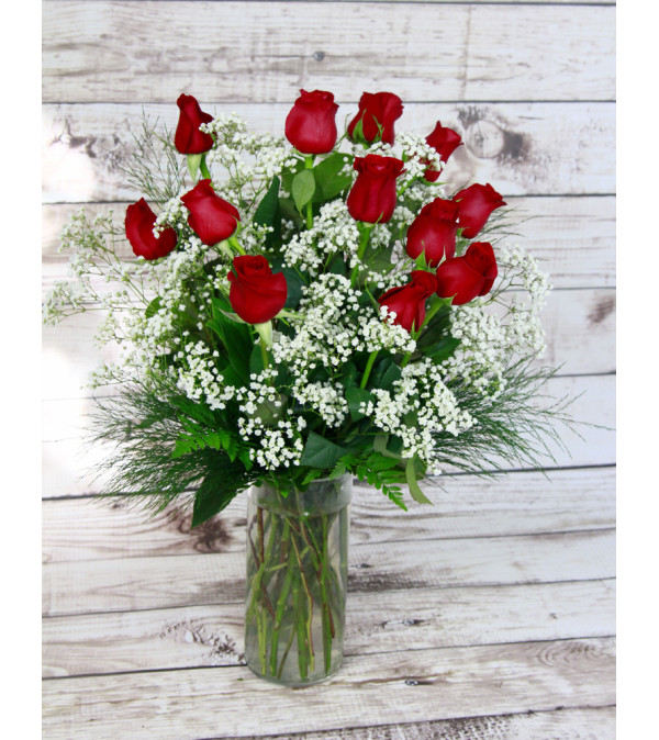Red Roses with Baby's Breath