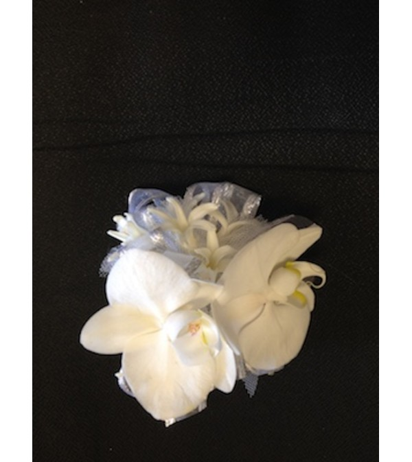 white phalaenopsis orchid corsage