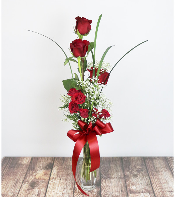 Classic Red Rose Vase by Pike Creek