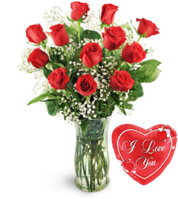 12 Classic Roses with Balloon special
