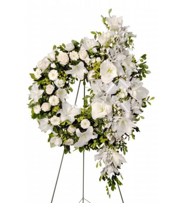 Elegant White Funeral Wreath