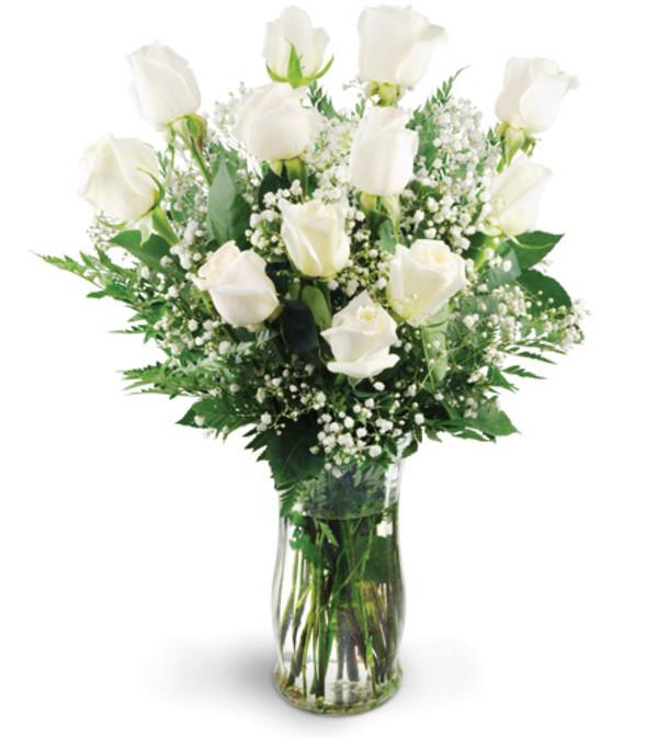 Dozen White Roses
