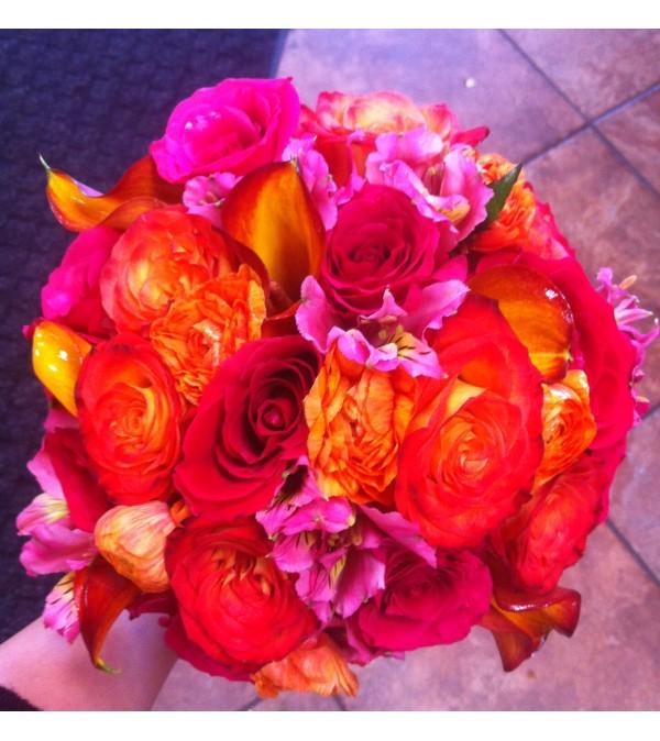 Bright Orange Rose Bouquet