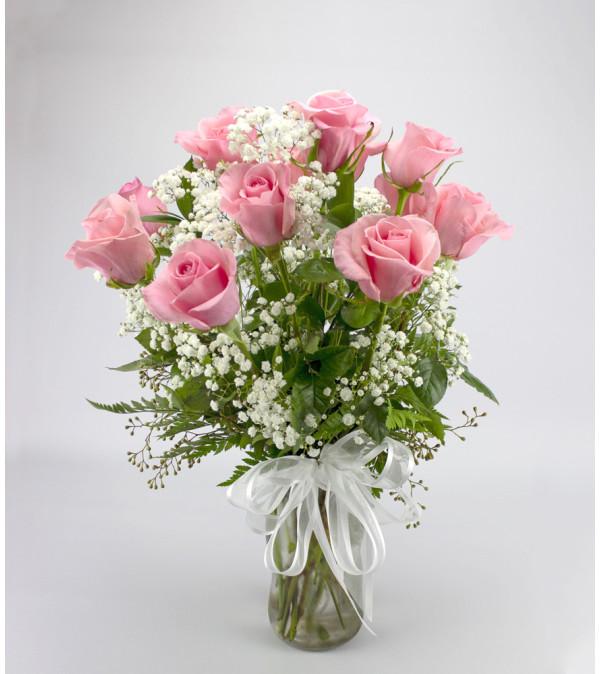 Classic Long Stem Pink Rose Arrangement