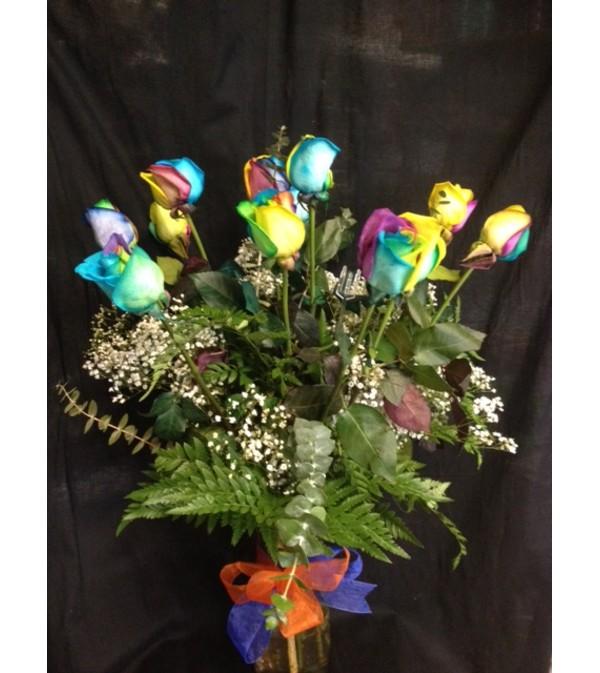 Dozen Rainbow Roses
