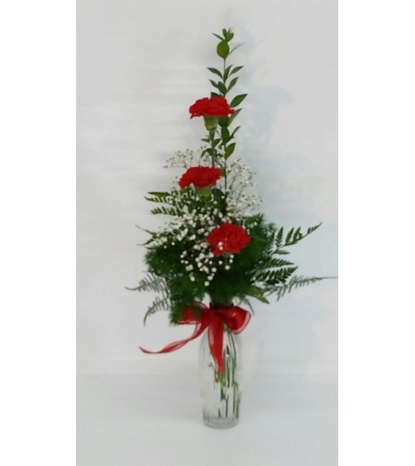 Red Carnation BudVase
