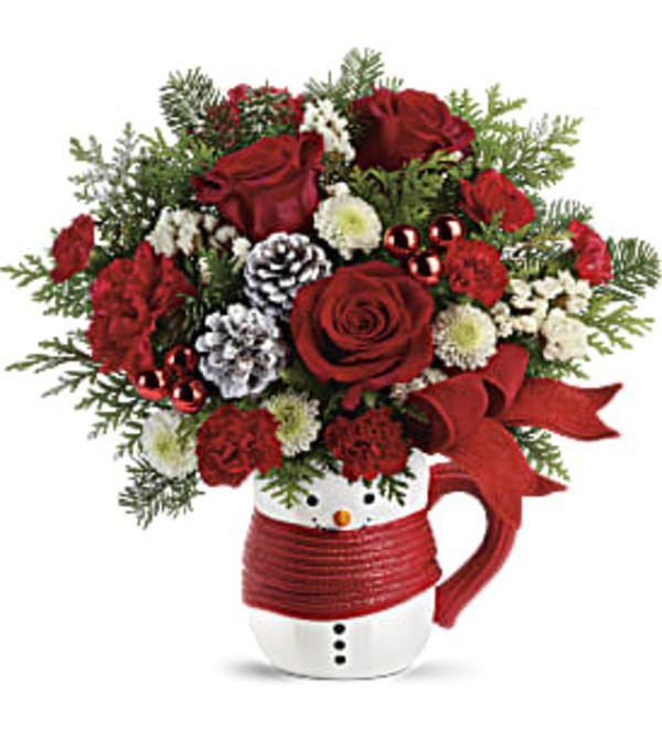 Send a Hug Snowman Mug Bouquet by Teleflora