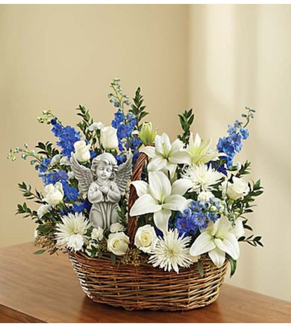 Heavenly Angel™ Blue and White Basket