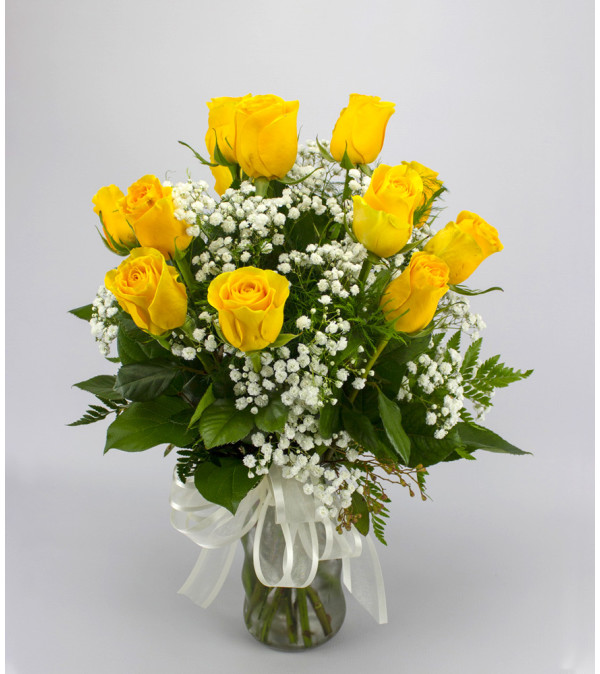 Standard Medium Yellow Rose Arrangement