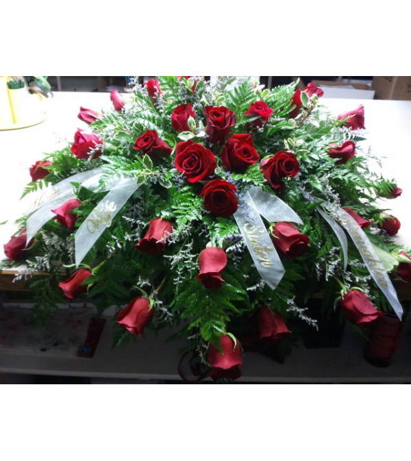 Classic Red Rose Casket Piece