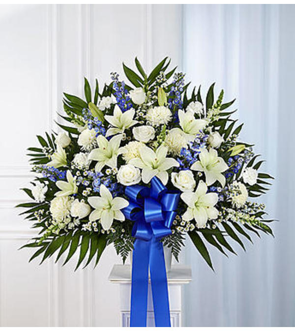 Heartfelt Sympathies™ Blue & White Standing Basket