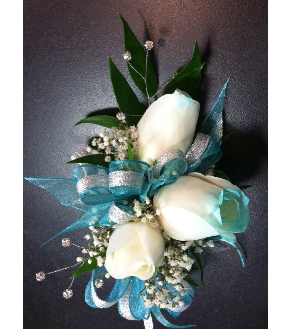 Turquoise Tipped Rose Corsage