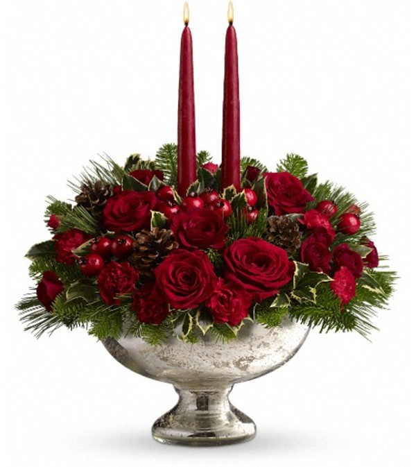 Teleflora's Mercury Glass Bowl Bouquet