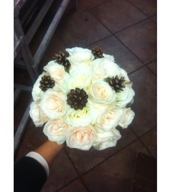 Pine and Ivory Rose Bouquet