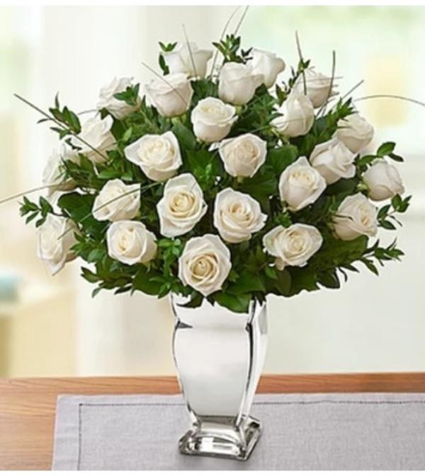 premium white roses in silver vase bridgeport ct florist. Black Bedroom Furniture Sets. Home Design Ideas