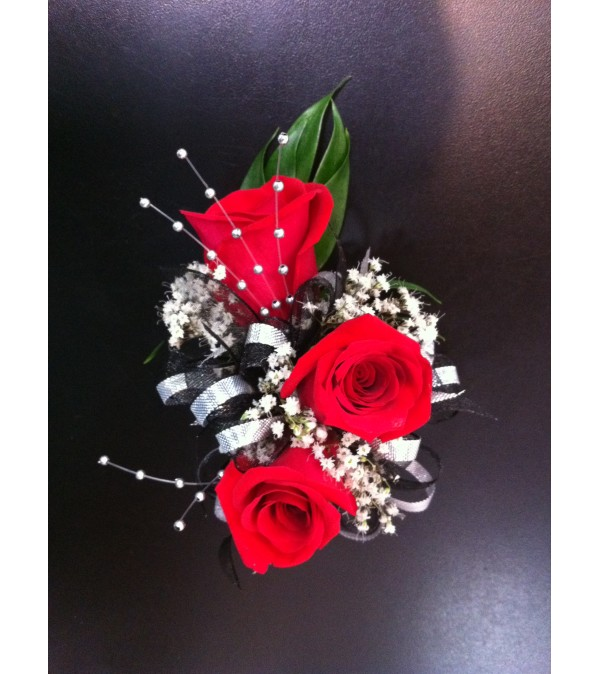 Red Rose Corsage and Pearls