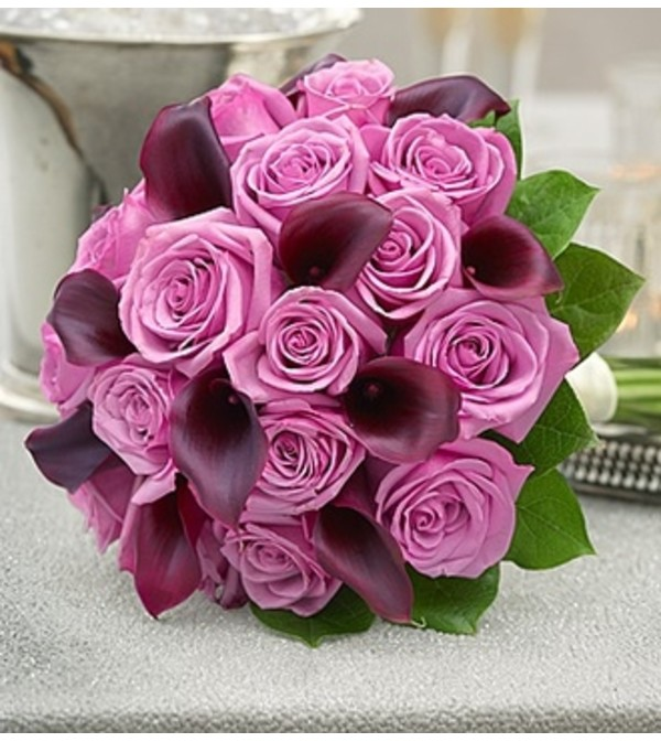 Purple Elegance Rose and Mini Calla Lily Bouq