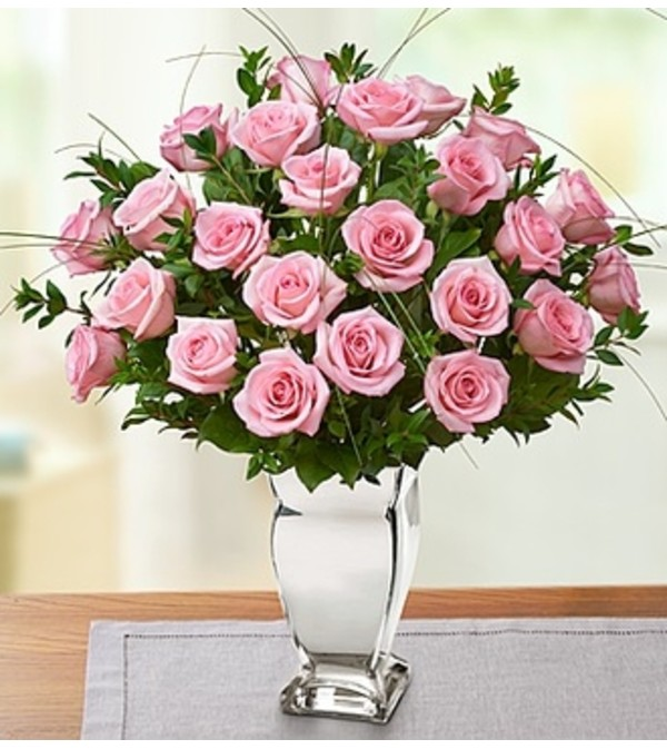 Premium Pink Roses In Silver Vase Florist Hagerstown Md