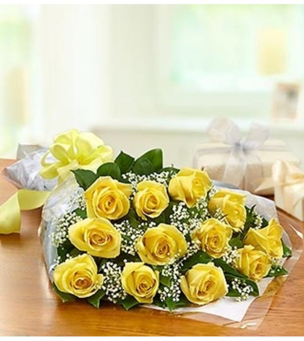 One Dozen Rose Presentation Bouquet - Yellow