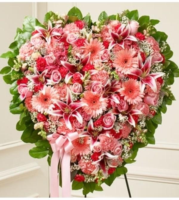 Pink mixed flower heart charlotte nc florist pink mixed flower heart mightylinksfo
